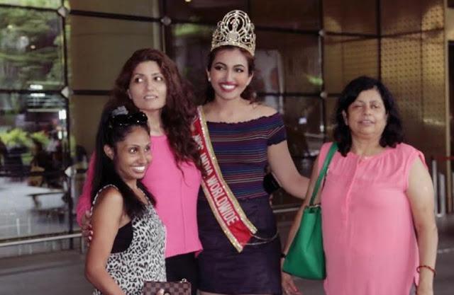 मिस इंडिया वर्ल्डवाइड श्री सैनी का मुंबई एयरपोर्ट पर भव्य स्वागत