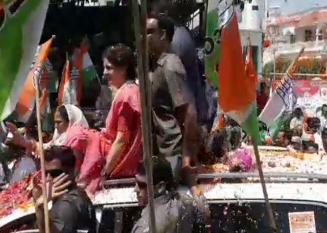 प्रियंका गांधी के रोड शो के दौरान कांग्रेस व भाजपा कार्यकर्ताओं में झड़प