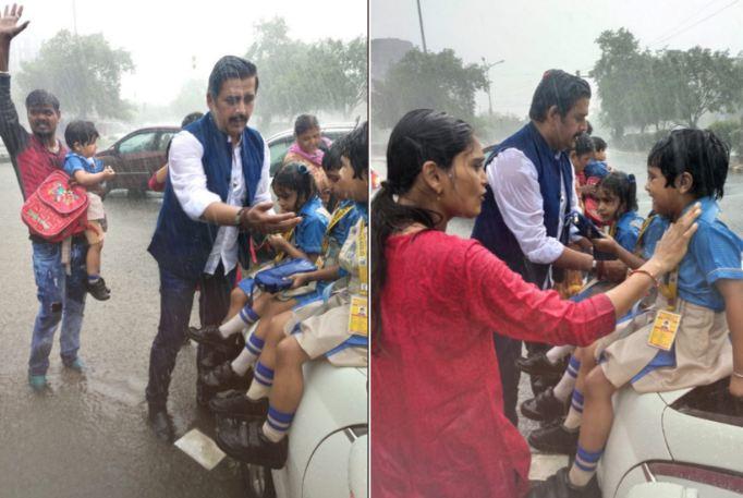 स्कूली वाहन बारिश में दुर्घटना ग्रस्त, मासूम बच्चों की मदद को आगे आए रवि किशन