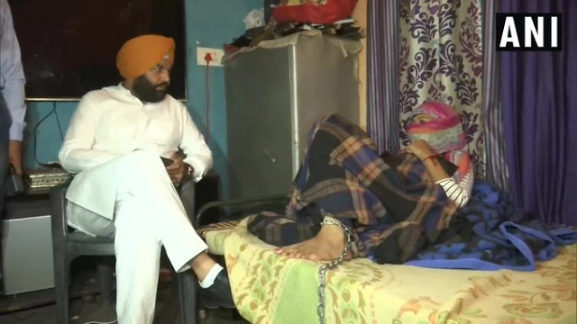 नशे की लत के कारण मां ने बेटी को जंजीर से बांधा,परिवार से मिलने पहुंचे MP गुरूजीत सिंह