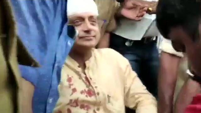 मंदिर में पूजा के दौरान घायल हुए थरूर, सिर में लगे 8 टांके