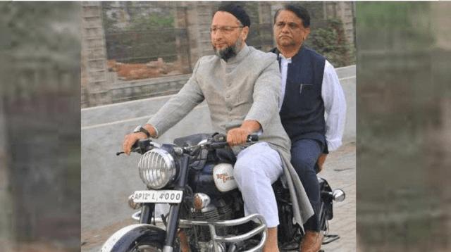 बिना हेलमेट बाइक चलाते ओवैसी, पीछे बैठे IAS ऑफिसर ने भुगता चालान